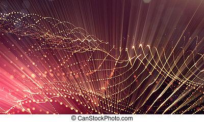 深さ, 形態, 金, 科学, microcosm, bokeh., 表面, フィクション, 微片, フィールド, 白熱, レンダリング, space., 背景, v58, 線, grid., ∥あるいは∥, 赤, 3d