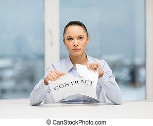 深刻, 女性実業家, 引き裂くこと, 契約