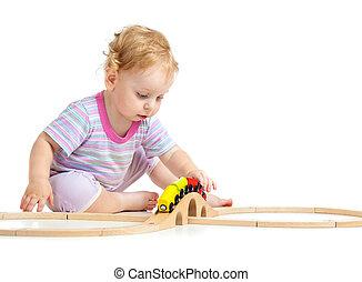 深刻, 子供, ある, 遊び, ∥で∥, 木製の列車, 隔離された, 白