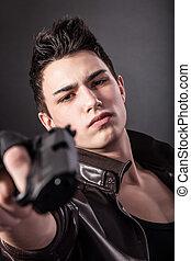 深刻, 銃, aiming., 人