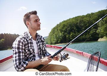 深刻, 集中, 男性, 釣り