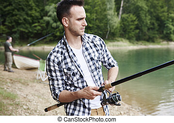 深刻, fish, 男性, つかまえること, 湖