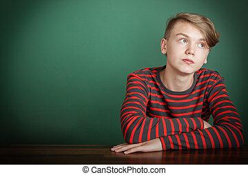 深思, 時髦, 年輕, 青少年男孩