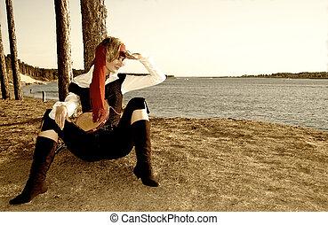 深棕色, 圖片, ......的, a, 海盜, 女孩