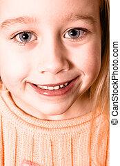 深棕色, 肖像, ......的, a, 小女孩