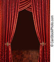 深紅色, カーテン, 赤, 劇場