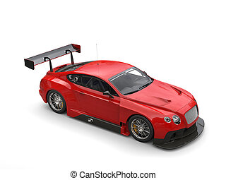 深紅, 赤, 現代, 極度, スポーツカー, -, スタジオの 打撃, -, 上, 下方に, 光景