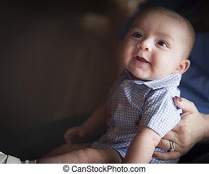 混ぜられた, かわいい, 幼児, レース, 親