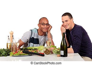 混ぜられた, ゲイカップル, 台所, 民族性