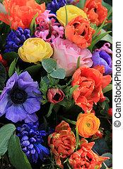 混ぜられた, 春, 花束