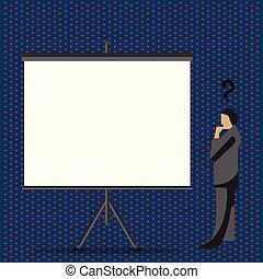 混乱させられた, ブランク, 地位, ∥横に∥, プロジェクター, 考え, クエスチョンマーク, 見る, 板, の上, スーツ, 白, 頭, 彼の, 大きいスクリーン, イラスト, 人, tripod., stand., ビジネスマン