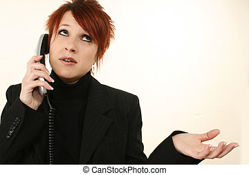 混乱, 女, 上に, 電話