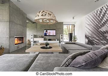 混凝土, 客厅
