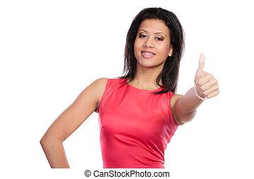 混合された 競争, 女, 寄付, 「オーケー」, gesture.