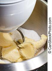 混合, バター, そして, 砂糖, ∥で∥, 混合, 機械, 手製, パン屋