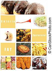 混合, 圖片, 垃圾食物, 為, health.