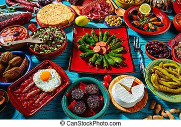 混合, tapas, ほとんど, 人気が高い, 調理法, スペイン