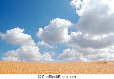 混濁的天空, 由于, 沙子, 在, 前景