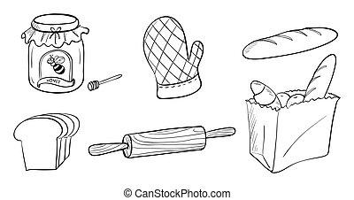 混雑, 材料, べーキング, bread