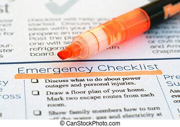 清单, 紧急事件
