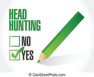 清單, 頭, 設計, 打獵, 插圖