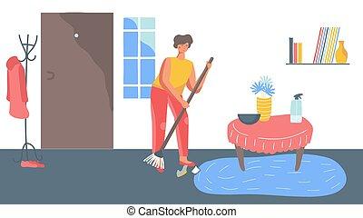 清扫, 妇女, 矢量, 家庭, 描述, 打扫, 日常事务, 家, 地板