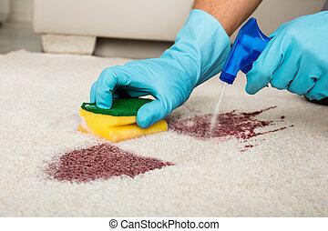 清掃, しみ, 人, カーペット