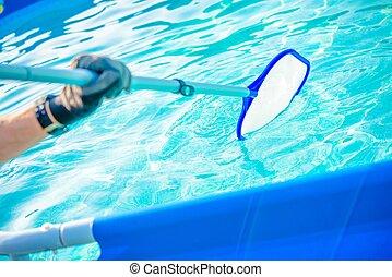 清掃, プール, 水泳