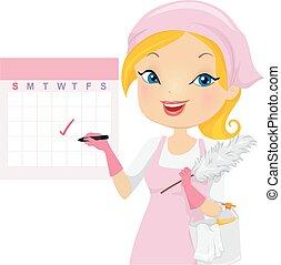 清掃, 女の子, 印, カレンダー, イラスト