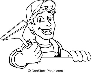 清掃, 洗いなさい, ウインドウ洗浄剤, 漫画, squeegee, 自動車