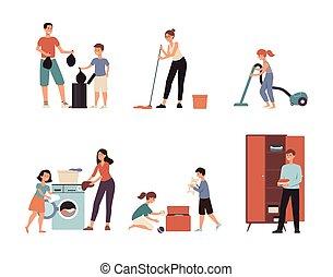 清掃, 漫画, set., 隔離された, 平ら, 図画, 家族, 家, -