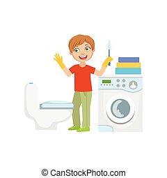 清掃, 男の子, 浴室, ブラシ, トイレ