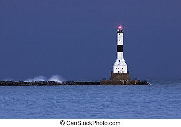 清晨, 在, conneaut, 燈塔