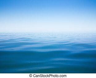 清楚的天空, 以及, 平靜, 海, 或者, 海洋水, 表面, 背景