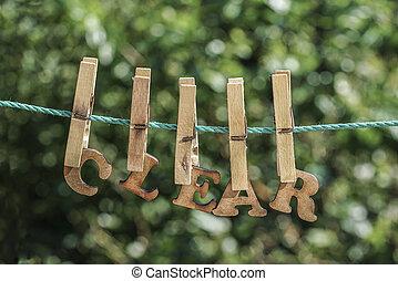 清楚, 詞, 寫, 所作, 垂懸, 木制, 信件, 上, 繩子, 在, 花園