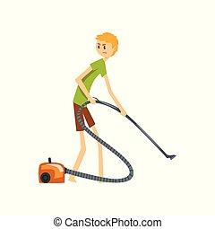 清洁工, 地板, 家庭, 描述, 矢量, 打扫, 背景, 真空, henpecked, househusband, 白色, 人, 卡通漫画, 丈夫