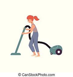 清洁工, 地板, 房子, 真空, 姜, 帮助, 家务劳动, 真空, 清洁, 孩子, 使用, 女孩, 卡通漫画, 开心