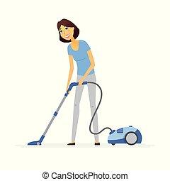 清洁工, 妇女, 人们, -, 年轻, 描述, 性格, 真空, 卡通漫画