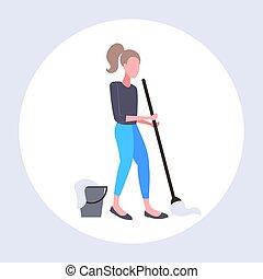清洁工, 妇女, 服务, 地板, 扫荡, 家务劳动, 家庭主妇, 长度, 概念, 充足, 打扫, 扫荡, 使用, 套间