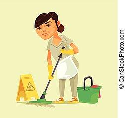 清洁工, 妇女, 洗涤, 人员, 性格, 隔离, 描述, 少女, 矢量, floor., 雇员, 微笑高兴, 卡通漫画, 打扫