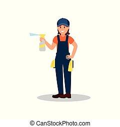 清洁工, 妇女, 液体, 工作, 套间, 海报, 年轻, 喷洒, 矢量, 设计, 打扫, 瓶子, rags., 微笑女孩, uniform., 做广告