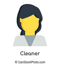 清洁工, 白色, 隔离, 背景, 图标