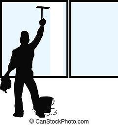 清洁工, 窗口, 侧面影象
