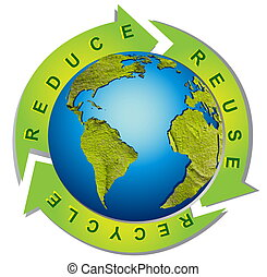清洁, 环境, -, 概念性, 再循环符号