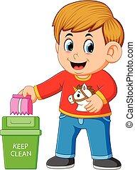 清洁, trush, 环境, 保持, 男孩, 垃圾箱