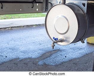 清潔, 増した, トラック, スペース, 衛生, 道, 概念, 洗面器, トレーラー, コピー