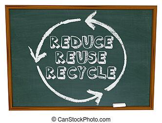 減らしなさい, 再使用, リサイクルしなさい, -, 黒板