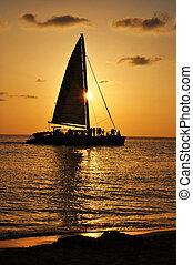 渡ること, 日没, ボート