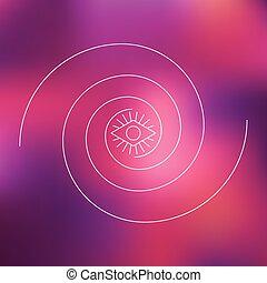 渦巻, グラフィック, 目, 紫色, 2, ぼやけた背景, 線, 幾何学的