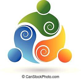 渦巻, ロゴ, チームワーク, ビジネス 人々